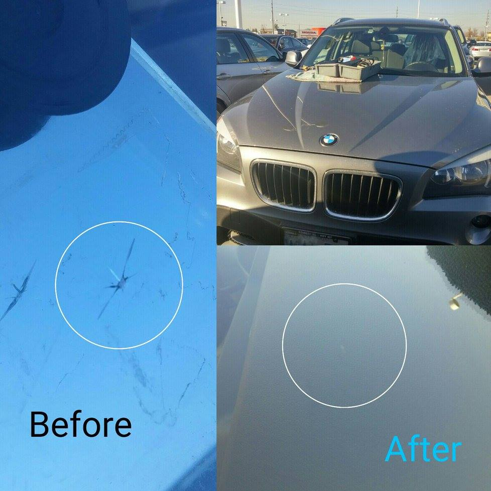 windshield chip repair Richmond Hill before after