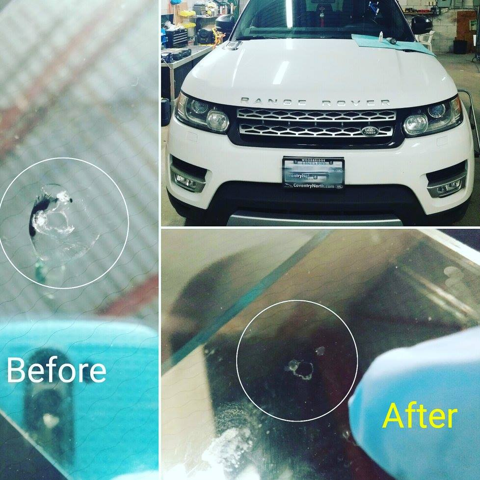 windshield crack repair Richmond hill before after